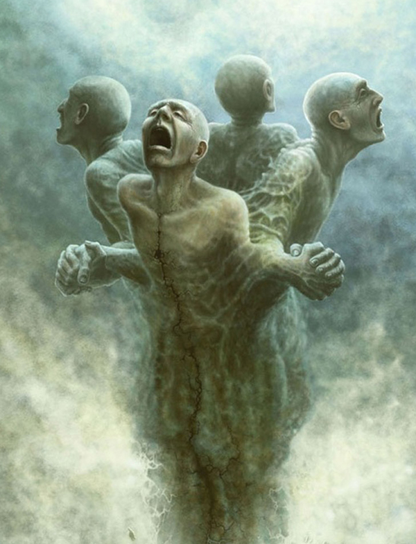 crtež depresivnih ljudi spojenih bolom koji plaču