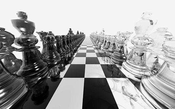 3d šahovska tabla sa jako približenim crnim i belim figurama