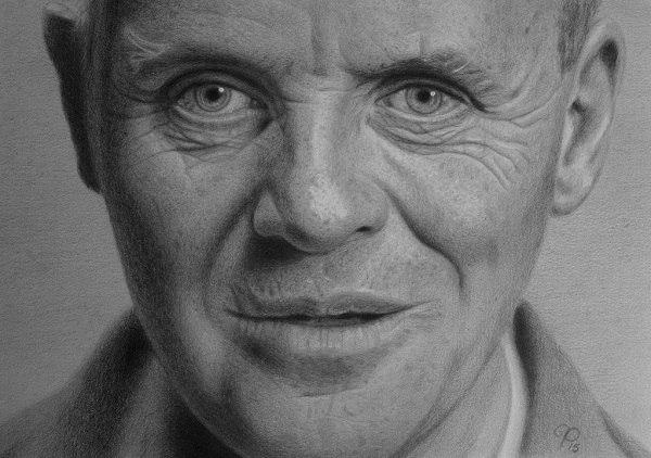 crtež entoni hopkinsa kao psihopate hanibal lektora bez maske