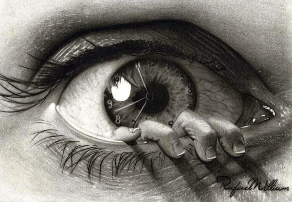crtež uplašenog oka sa satom u zenici iz kojeg izlaze prsti